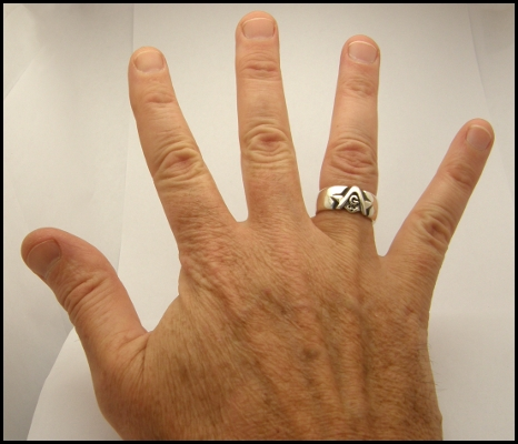 Brotherhood Masonic Ring on the average hand
